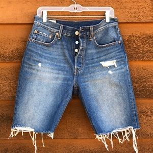 501 Levi's High Waisted Cut Off Shorts Button Fly